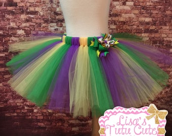 Mardi Gras tutu and bow set. Parade tutu. Green yellow and purple tutu. Mardi Gras parade. Childrens tutu. Adult tutu. Toddler tutu.