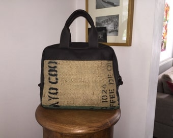 Reclaimed Coffee Bean Sack and Leather holdall, Overnight Bag, weekender bag,reclaimed leather,coffee beans overnight bag
