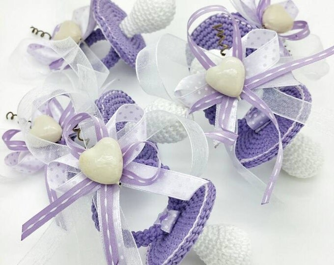 Featured listing image: Lot 15 pacifiers crochet package favors for birth / baptism purple shade
