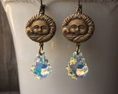 Brass Highly Detailed Sun Face Earrings With Auroral Borealis Swarovski Baroque Crystals