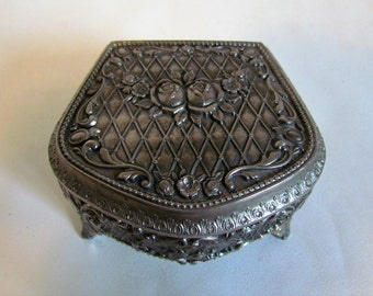 Vintage Silver Art Nouveau Jewelry Storage Box Dressing Table Dresser Decor Trinket Box Gifts For Women
