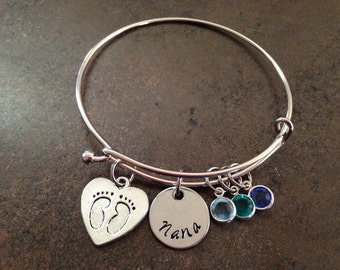 Personalized Charm Bracelet, Hand Stamped Jewelry, Expandable Wire Bangle, Grandmother, Nana, Gigi, Mother, Mommy,