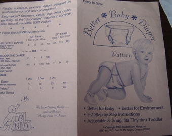 DIAPER: Easy To Sew Better Baby Diaper Pattern with E-Z Step-by-Step Instructions, 1990