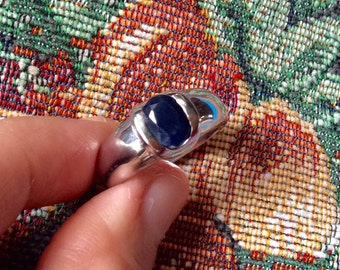 2.05 ct Natural Royal Blue Sapphire - Unheated Untreated Deep Blue Sapphire Engagement Ring Size 8.5