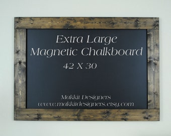 Large Framed MAGNETIC Chalkboard - Distressed/Rustic - Home Decor/Office Space - Home School - Message Board - Vinyl Chalkboard