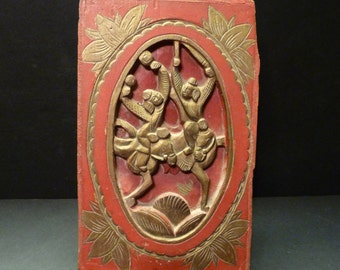 Final Clearance ~Vintage Wooden Oriental Plaque - warriors on horseback