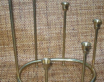 Circa 1950s Mid Century Modern BRASS CANDLE Holders CENTERPIECE Table Display
