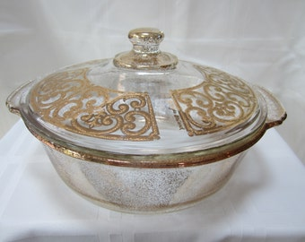 Vintage GEORGES BRIARD Gold Flake Filigree Spanish Floral Fire King 2 qt. Casserole