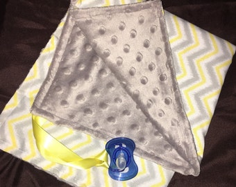 Yellow And Grey Chevron Soft Paci Tag Along Minky Blankie