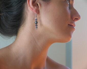 Hematite and crystal, dangle earrings