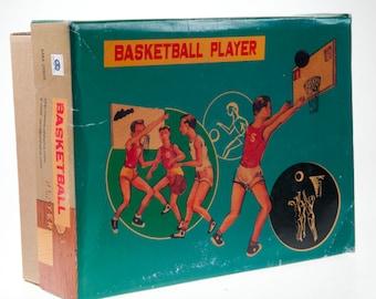 Basketball Game Clockwork Wind-Up  Tin Toy