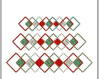 3 Pack - Holiday Argile Border -  3 pack Embroidery Files - Machine Embroidery Files