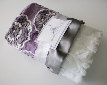 Mar Bella Barcelona in Violeta, Gray and White Minky Medallion Print with White Embossed Vine, Gray Satin, Baby Shower, Crib Bedding