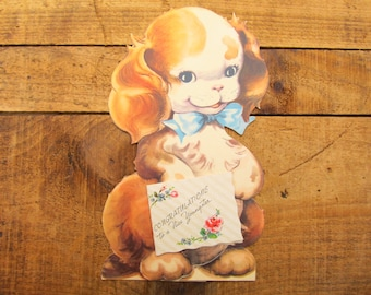 Vintage Die Cut Greeting Card - Die Cut Dog Greeting Card - Congratulations to Youngster - Doubl-glo Greeting Card
