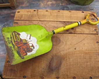 Vintage Ohio Arts Tin Lithograph Shovel - Big Boss Toy Shovel - Bulldozer Shovel