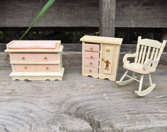 Vintage Wooden Dollhouse Furniture - Baby's Room Doll Furniture