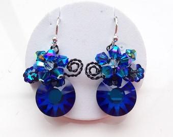 Blue earrings ,Navy blue earrings.Burmuda blue ,small earrings ,Dark blue jewelry ,something blue , Jewellery uk