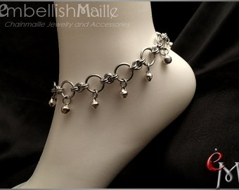 """Silver anklet, Bell anklet, Chainmaille Anklet (1) with bells, Women's anklet, women's jewelry, summer jewelry 8"""" - 11"""""""