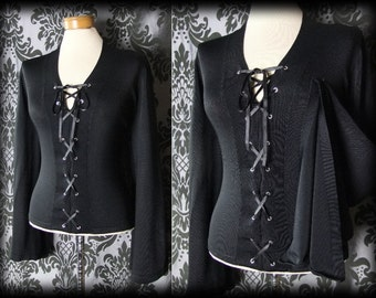 Gothic Black Fitted Lace Up SEDUCTIVE Wide Sleeve Top 12 14 Victorian Vintage