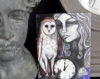 The White Lady Postcard, Owl, Ghost, Barn, Fantasy, Magic, Greeting, Illustration, Art, Mystic, Elven, Clock, Victorian, Steampunk, Gothic