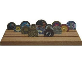 Military Challenge Coin Holder- Mahogany Natural- 28 coins