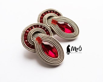Red and beige earrings soutache- GOOD PRICE! orecchini soutache,boucles d'oreilles soutache
