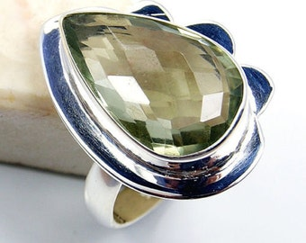 Green Amethyst & .925 Sterling Silver Ring Size 8.5 ,  S660