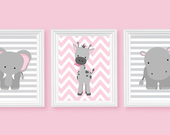zoo nursery art elephant nursery art pink and grey baby nursery decor baby room decor girls room decor nursery canvas art jungle