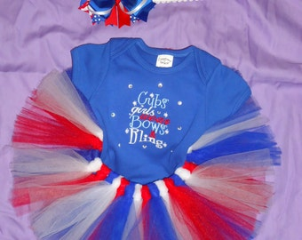 MADE TO ORDER - Embroidered Tutu Outfit, Cubs girls wear bows and bling, Baby Bodysuit, Cubs Fans, Hairbow, Red,White,blue, Baby cubs tutu