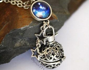 Galaxy Ball Locket Magic Box Locket Necklace Round Locket Sphere Locket Necklace Long galaxy locket nerdy jewellery space stars universe