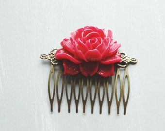 Hair Comb, bright red resin rose hair comb