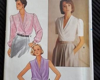Vintage 1985 Misses Blouse Sewing Pattern Butterick 3296 Size 6 8 10 NEW UNCUT