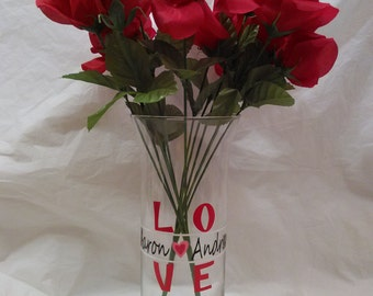 Valentines Day Vase, Couples Gift, Personalized Vase, Engagement Gift, Gift For Her, Fiance Gift, Anniversary Gift, Wife Gift
