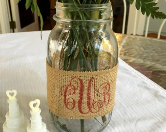 Custom Printed Burlap Mason Jar Wraps - Set of 4 - Great for weddings, bridal showers, baby showers