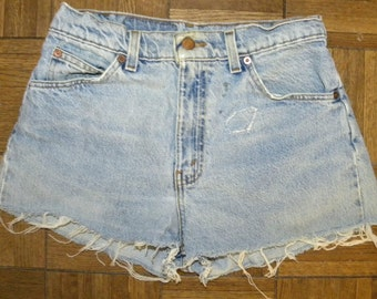 "1970s 80s Levi's cut offs / shorts / high waist / denim / jean shorts / Orange Tab / Daisy Dukes / Vintage 30 / waist is 27-28"" / distressed"