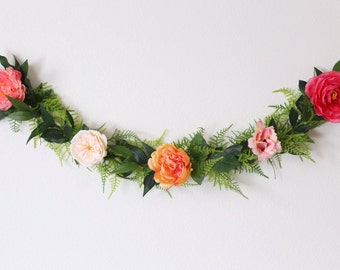 Flower garland, bohemian flower garland, floral wall hanging, wedding garland, floral garland