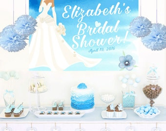 Watercolor Bride Personalized Banner, Bridal Shower Large Cake Backdrop - Bride to Be Banner, Printed Photo Backdrop, Wedding Backdrop