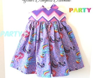 Baby Girls Toddler My Little Pony Purple and Pink Chevron Reverse Knot Dress Sizes NB to Size 6