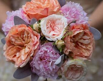 silk flower bridal bouquet peach roses, peony bouquet