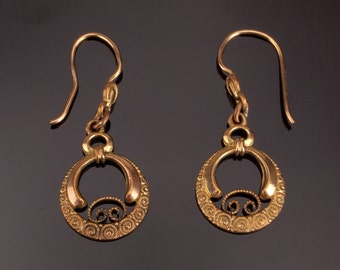 Antique Gold Filled Earrings, Victorian Etruscan Earrings