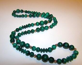 SALE! Vintage Green Malachite Beaded Statement Necklace