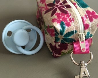 Dummy case,soother case,pacifier holder,Handmade in pink flowered oilcloth