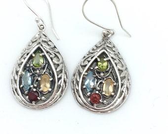 Bali Multi-stone Dangle Earrings