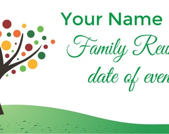 Family tree reunion etsy for Reunion banners design templates