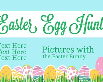 Easter Egg Hunt Banner with Pink Bunny & Eggs