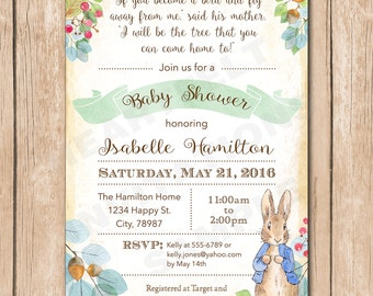 Peter Rabbit Baby Shower Invitation | Floral, Neutral, Vintage, Shabby Chic, Baby Book, Watercolor - 1.00 each printed or 12.00 DIY file