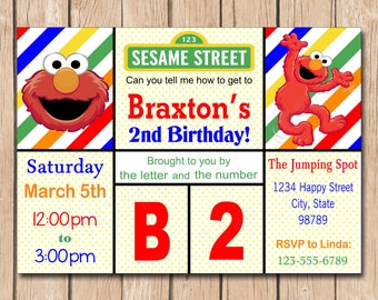 Elmo Birthday Invitation | Boy or Girl, Sesame Street - 1.00 each printed or 10.00 DIY file