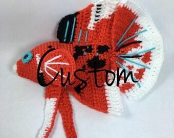 Custom Crochet Betta (Amigurumi, Handmade, Siamese Fighting Fish, Stuffed Animal, Toy)