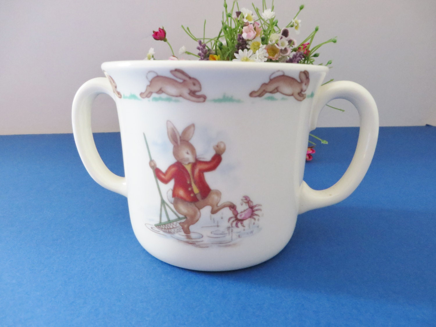 Royal Doulton Baby Gifts Australia : Bunnykins vintage s mug boating and fishing royal