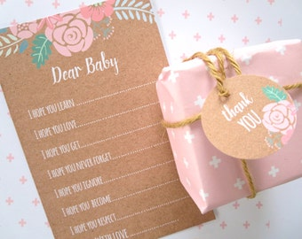 Rustic Boho Chic Floral Baby Shower Wish Cards x 20 for Baby Girl
